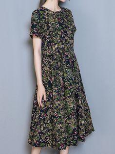 67b2a7d64 Print Short Sleeve O Neck Elastic Waist Women Dresses