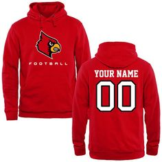 Louisville Cardinals Personalized Football Pullover Hoodie - Red