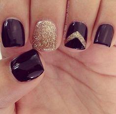 Deep burgundy and gold chevron nails