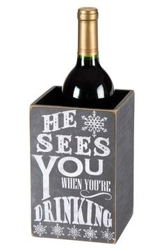 cute 'he sees you when you're drinking' wine bottle box http://rstyle.me/n/t3wc9r9te
