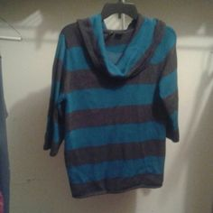 Charcoal brown and turquoise sweater with cowl nec Size large so comfy in great condition! Sweaters Cowl & Turtlenecks