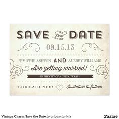 Vintage Charm Save the Date 5x7 Paper Invitation Card
