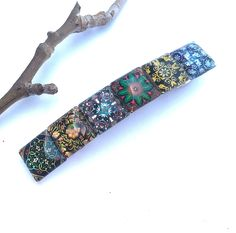Bohemian Hair Barrette with Mixed Pattern Glass Tiles, Unique Gifts for Women, Colorful Boho Accessories, Multicolor Clip Bohemian Art, Bohemian Design, Bohemian Fashion, Bohemian Hairstyles, Unique Gifts For Women, Boho Accessories, Boho Look, Hair Barrettes, Modern Bohemian