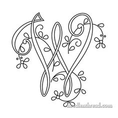 Monogram for Hand Embroidery: W