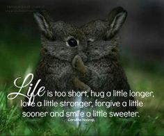 Life is short. Hug a little longer, love a little stronger, forgive a little sooner and smile a little sweeter. :)