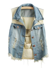 Panel Design Distressed Denim Vest I need this! The contrasting denim is lovely!