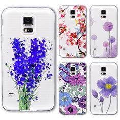 S4 s5 case ultra sottile molle della copertura del telefono per samsung galaxy s4 i9500 fiori modello verniciato trasparente molle del silicone indietro case