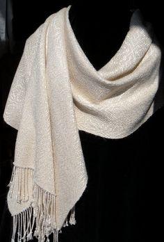 Bridal Silk Shawl Handwoven Silk Shawl by ThistleRoseWeaving, $250.00