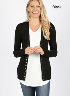 Snap Button Sweater Cardigan W/Detail Black Cardigan, Sweater Cardigan, Black Media, Cardigans For Women, A Boutique, Cool Shirts, Plaid Scarf, Buttons, Long Sleeve
