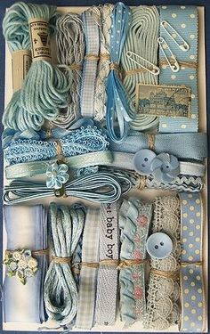 Vintage Blue Trims & Ribbon