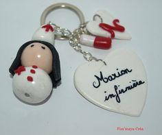 Porte clés personnalisable infirmière, aide-soignante, interne en pâte polymère : Porte clés par fim-maya-crea