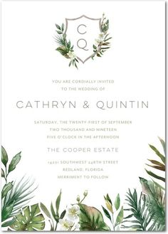 For the tropical destination wedding. Personalize a wedding invitation true to the two of you.
