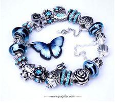 Blue Butterfly Blow. Http://www.pugster.com/ #butterflyjewelry #braceletcharm #pandorastyle