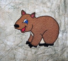 Wombat PDF applique pattern; Australian animal quilt pattern; down under animal…