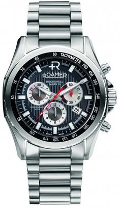 Give any ensemble a sleek and sophisticated touch with the Roamer Rockshell Mark III Men's Chronograph Watch. With an embossed leather strap and buckle closure, this watch features a chronographic dial with a date display. Mens Gift Sets, Stainless Steel Case, Chronograph, Watches For Men, Men's Watches, Black Leather, Display, Coupon, Amazing Watches