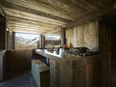 Küche Aus Holz Einrichtung Esstisch Bank Landhausstil / Wood Kitchen In  Wood House Rustic Modern Minimalist