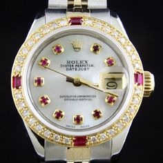 Rolex Ladies tt 18k/ss Datejust Mother of Pearl with Ruby Markers, Ruby Bezel, and Jubilee Band