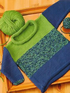 46 Colorblock Pullover - Cascade 60 Quick Knits From America's Yarn Stores. See our great prices and fast service.A bright blend of solids and heathers livens up a stockinette baby sweater with rolled edges. Easy Baby Knitting Patterns, Baby Sweater Patterns, Baby Cardigan Knitting Pattern, Knit Baby Sweaters, Knitting For Kids, Easy Knitting, Knitting Designs, Cardigan Bebe, Pull Bebe
