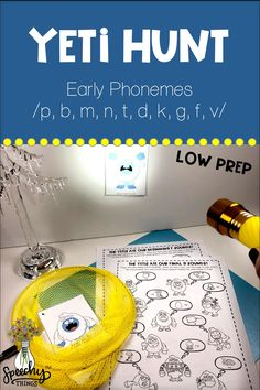 """Target early phonemes with this fun speech therapy resource! The therapy planning is done for you with this game. This resource is easy to prep, provides gross motor breaks, and is a simple, engaging way to get a ton of articulation trials. Hide the 10 yetis around the room and have your students find them. Each yeti corresponds to one target word or language concept- something the yeti 'ate'. Your student must practice their word or concept in order to """"catch"""" the yeti! #slp #tpt #slpsontpt Articulation Therapy, Articulation Activities, Speech Activities, Speech Therapy Activities, Language Activities, Toddler Activities, Phonological Awareness Activities, Phonological Processes, Winter Activities For Kids"""
