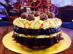 Chocolate Caramel Ferrero Rocher Cream Cheese Cake! ( Ferrero Rocher inside out !)