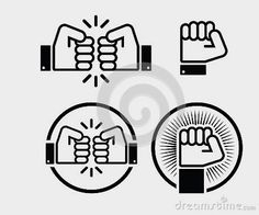 Fist, Fist Bump Icons Set Royalty Free Stock Images - Image: 32022279