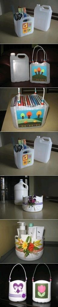 DIY plastic bottle baskets.  Surprised that they don't have gallon milk jugs on here.
