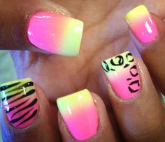 Pink & yellow animal style nails. Wild yet simple