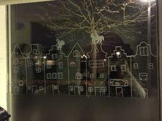 Sinterklaas krijtstift op het raam