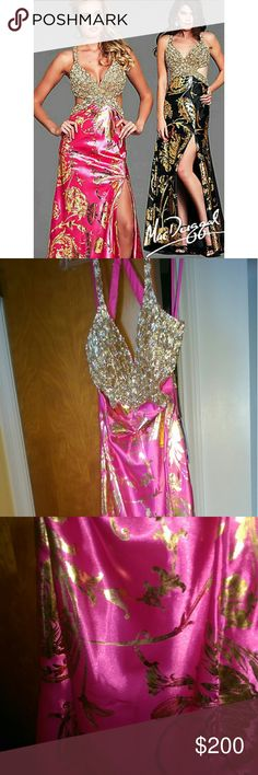 Pink prom dress. Top is made of beads, material of satin. Brand new mac duggal Dresses Backless