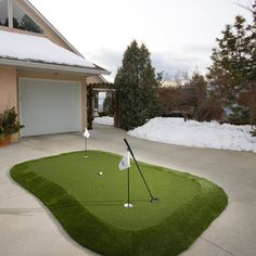 After a year like 2020, all of us golf lovers deserve an at-home, custom putting green like this one in our driveway. Rather avoid the cold and snow? If space allows, bring your putting green inside! #golf #golflovers #puttingreen Golf Mats, Site Design, Design Consultant, Grass, Paradise, Lovers, Diy Crafts, Snow, Cold