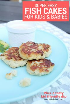 An easy baby and kid friendly fish recipe your child will eat, fish cakes for kids and babies. Quick and yummy with a tasty dip to serve alongside your kids fish cakes.