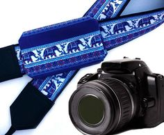 DSLR / SLR Camera Strap with pocket. Lucky elephant Camera Strap. Camera accessories. For Sony, canon, nikon, panasonic, fuji and other cameras.