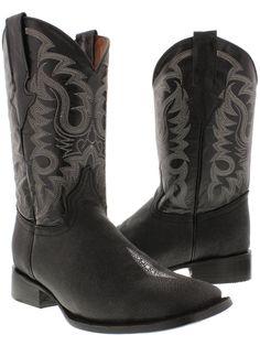 Men's Stingray Boots Single Stone Leather Black Western Cowboy Square Toe Twest | eBay