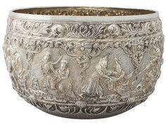 Burmese Silver Thabeik Bowl - Antique Circa 1880 SKU: W8074 Price GBP £3,250.00 http://www.acsilver.co.uk/shop/pc/Burmese-Silver-Thabeik-Bowl-Antique-Circa-1880-41p5700.htm#.VZJQvkZmqzQ