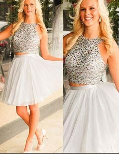 Fashion Halter A-line Two Piece Short Homecoming Dress Prom Gown    2016 homecoming dress, cheap homecoming dress, white homecoming dress, sparkling homecoming dress,