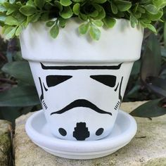 Stormtrooper Flower Pot by FlourishAndPots on Etsy
