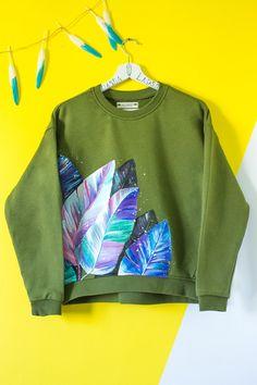 Hand painted Khaki Sweatshirt with tropical leaves