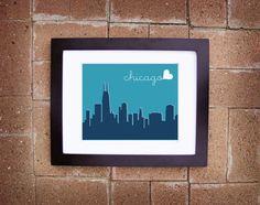 Modern Chicago Skyline Print - Printable 8x10. $10.00, via Etsy.