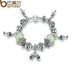BAMOER 2017 New Silver Plated Green Bracelets amp Bangles with Love Clasp Bead Bracelet Jewelry for Women PA1481