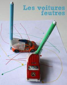 Dessiner avec des voitures ! http://www.cabaneaidees.com/2014/07/dessiner-avec-des-voitures/