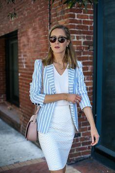 Striped Blazer and Ivory Pencil Skirt - MEMORANDUM, formerly The Classy CubicleMEMORANDUM, formerly The Classy Cubicle