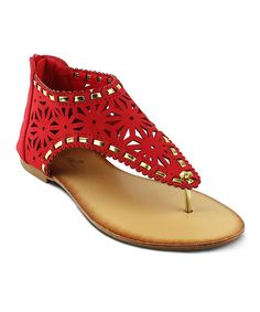 Look at this Red & Gold-Trim Cutout Easter Sandal on #zulily today!