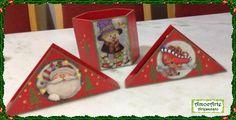 Porta guardanapo e cachepô de natal madeira http://amocarte.blogspot.com.br/
