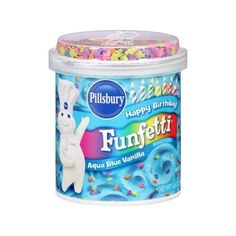 Pillsbury Happy Birthday Funfetti Aqua Blue Vanilla Frosting, 15.6 oz... (10 BRL) ❤ liked on Polyvore featuring food