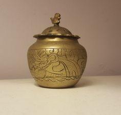 20th Century Brass Dragon Urn China Chinese Metalware Jar Lid