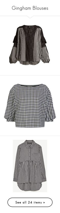 """Gingham Blouses"" by kris-tin-22 ❤ liked on Polyvore featuring tops, blouses, black white, vintage blouses, puff shoulder blouse, white and black blouse, black white blouse, gingham blouse, shirts and blusas"