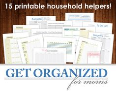 GET ORGANIZED for moms 15 PRINTABLEs Household Helpers, Meal Plan, Budget Sheets, Inventory Sheets, Important Inf