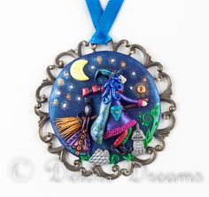 """- SOLD - $100.00 #witch, #witchonbroomstick, #blackcat, #witchwithblackcat, #witchpendant, #witchart, #polymerclaypendant, #polymerclayart, Witch Pendant, Witch on Broomstick Pendant, Witch Art, Fantasy Art, Original Wearable Art Jewelry, Fantasy Jewelry, Halloween Jewelry This beautiful goth witch pendant is called """"Let's Travel the World!"""""""