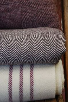 Barney Woven Welsh Wool Blanket: Plum Stripe - Click Image to Close Welsh Blanket, Wool Blanket, Plum Purple, Burgundy, Fresh Farmhouse, Textiles, Soft Furnishings, Warm And Cozy, Bed Pillows