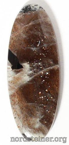 Gematite in pegmatite cabochon 45*17 mm #cabochon #gems #nordsteiner #Gematite @ nordsteiner.org